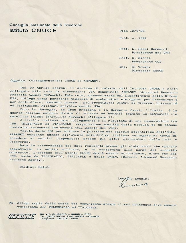 lettera collegamento Italia ad ARPANET