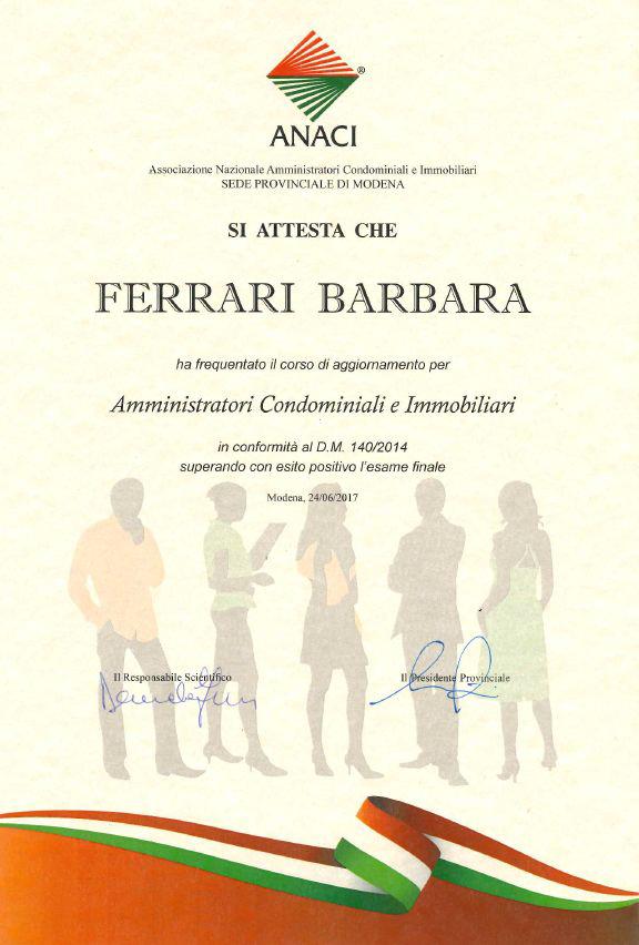 Corso aggiornamento 2017 Barbara Ferrari