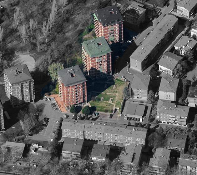 """vista aerea del supercondominio """"Tre Torri"""""""