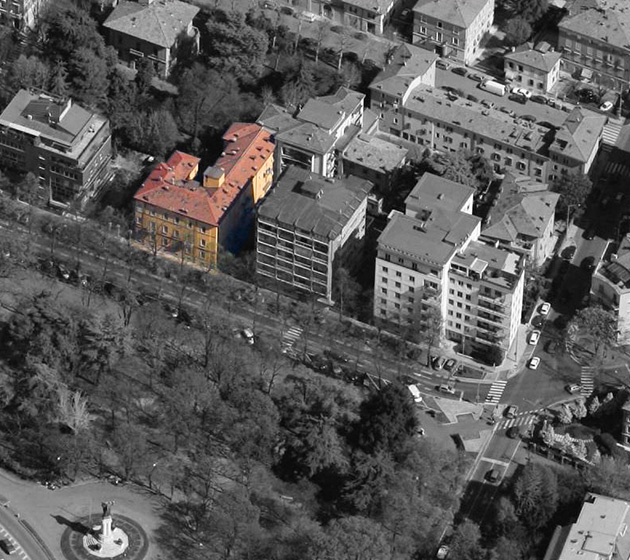 "Vista aerea del condominio ""Nicola Fabrizi 87-89"""