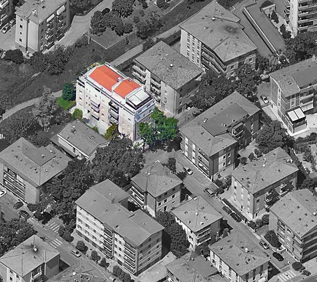 """Vista aerea del condominio """"Le Ortensie"""""""