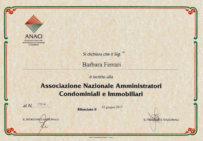 Iscrizione ANACI Barbara Ferrari