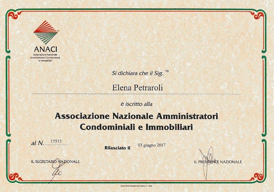 Iscrizione ANACI Elena Petraroli