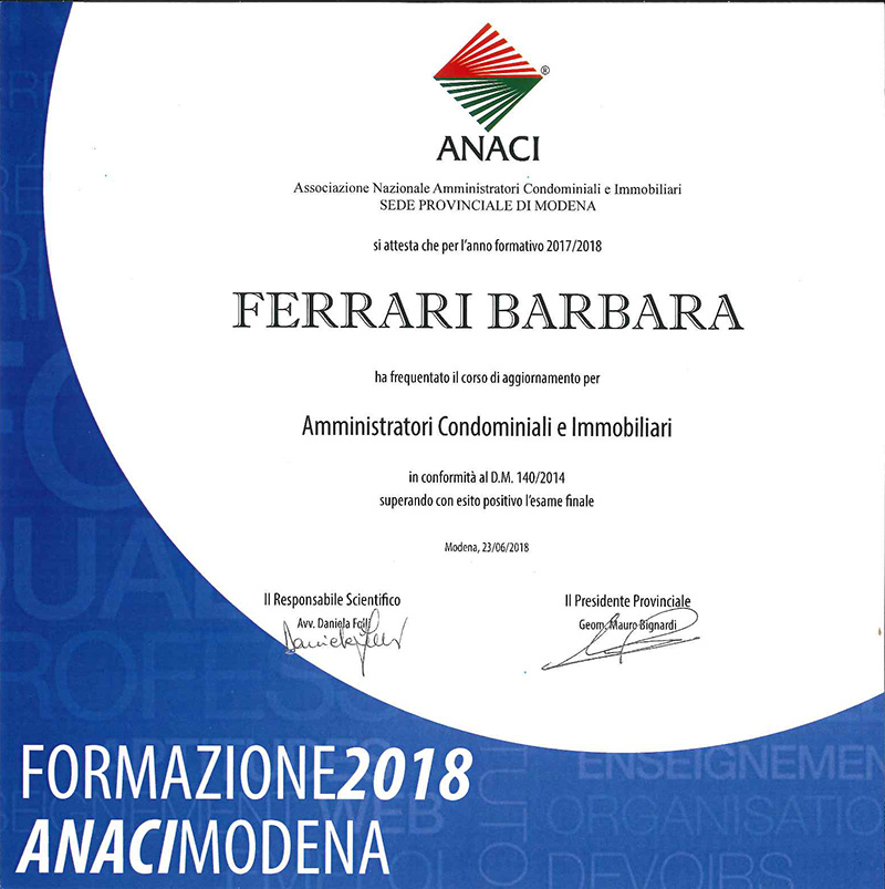 Corso aggiornamento 2018 Barbara Ferrari