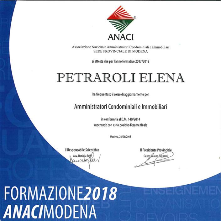 Corso aggiornamento 2018 Elena Petraroli