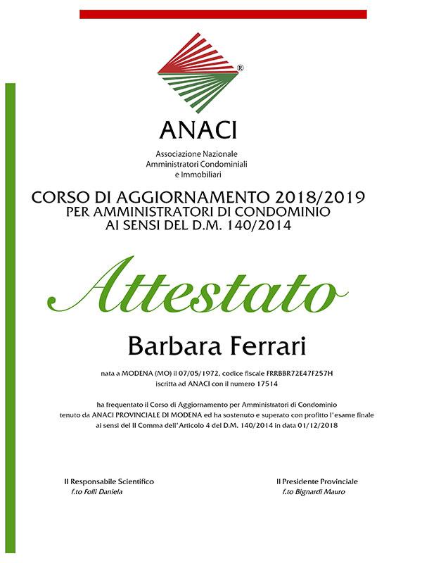 Corso aggiornamento 2019 Barbara Ferrari