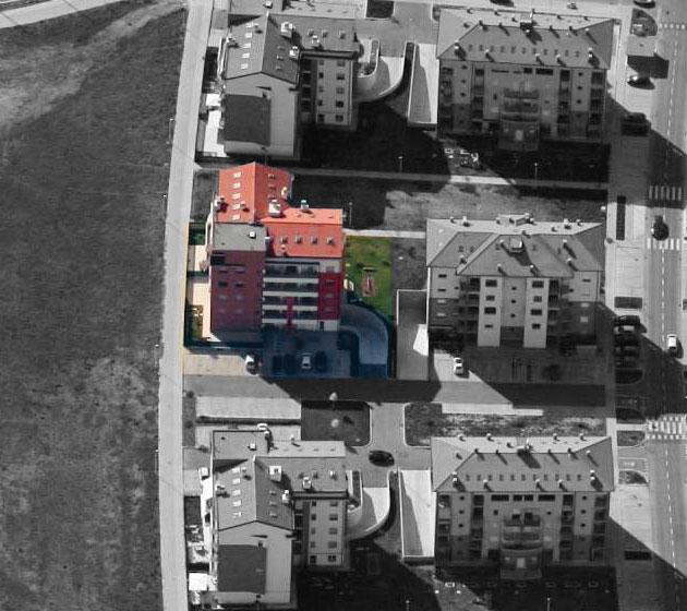 """Vista aerea del condominio """"Francesca"""""""