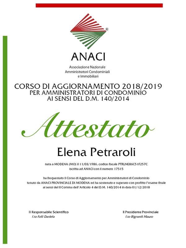 Corso aggiornamento 2019 Elena Petraroli