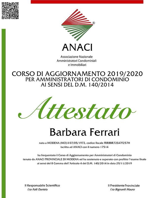 Corso aggiornamento 2020 Barbara Ferrari